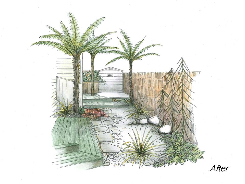 Linking a spa pool area with surrounding outdoor space