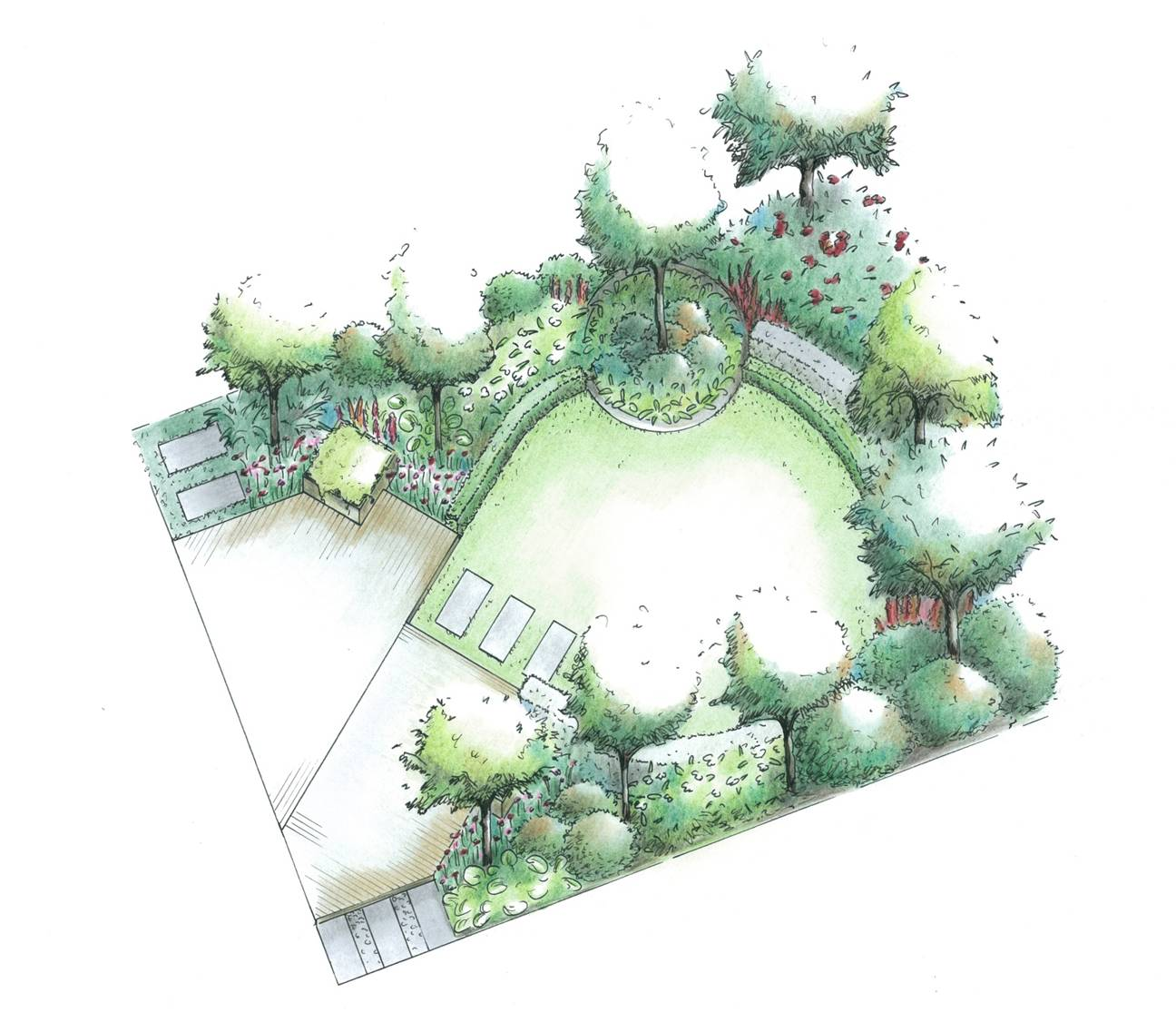 garden-plan-diagonal-theme-combined-with-circles-3d