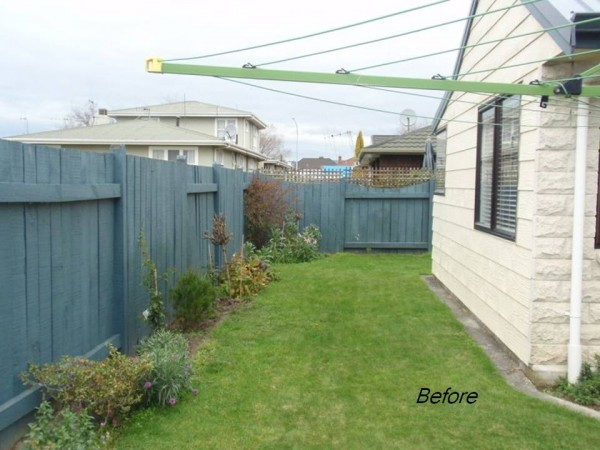 Transforming a narrow lawn into a small outdoor room with a view